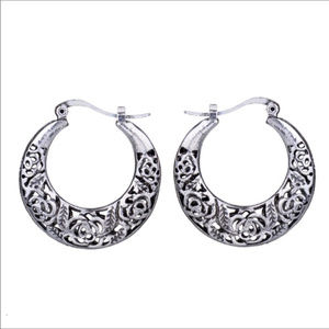 Jewelry - Mythic Tibetan Carved Silver Loop Earrings NWT